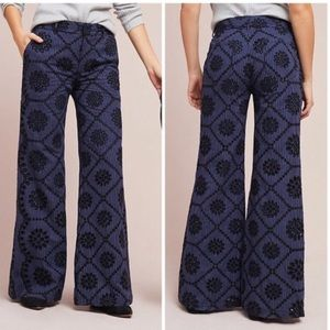 Anthropologie Embroidered Eyelet Wide Leg Pants